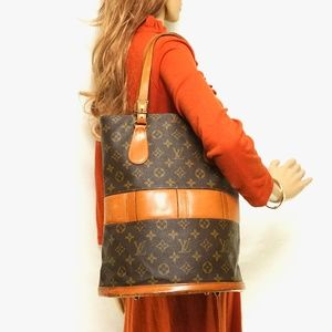 Auth Louis Vuitton Bucket Gm Brown Tote #2079L13